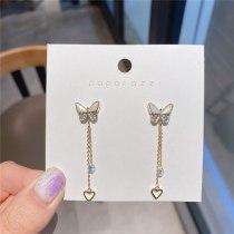 Japanese and Korean Design Sweet Ins Style Butterfly Earrings S925 Long Heart-Shaped Tassel Temperament Lady Ear Studs Earrings