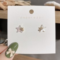 Small Design Five-Pointed Star Shell Zircon Stud Earrings Female Sterling Silver Needle Student Commuting Gentle Korean Earrings