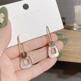 Korean Light Luxury Minority Earrings Retro Socialite Shell Earrings Simple Geometric Ear Studs Silver Needle