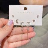 Gold-Plated Zircon Series Korean Style Sterling Silver Needle Moon Earrings Earrings Internet Celebrity Earrings Ear Studs