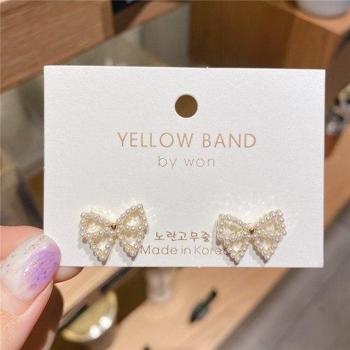 Gold-Plated Fresh 925 Silver Needle Temperament Wild Minimalist Bowknot Earrings Pearl Stud Earrings