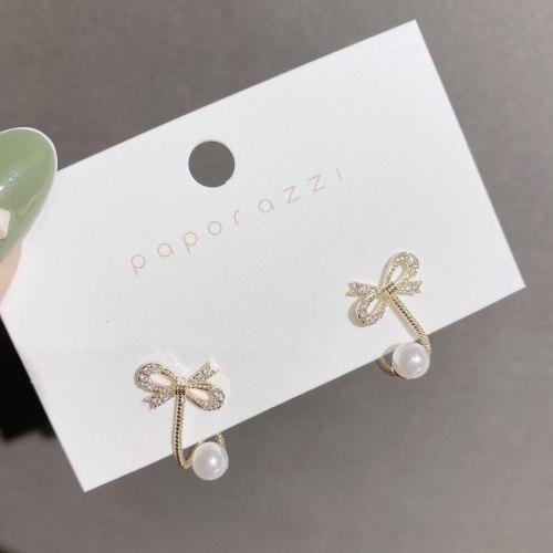 Korean Small and Simple Zircon Bowknot Earrings Sterling Silver Needle Unique Design Stud Earrings Ear Clip