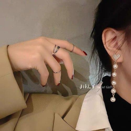 Sweet Cool Style Love Hand-Made Pearl Tassel Earrings Women's Retro Temperament Sterling Silver Needle Eardrop Earring