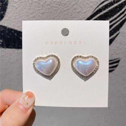 Korean Style Sterling Silver Needle Sweet Heart Earrings Small Simple Lady Heart-Shaped Earrings Micro Inlaid Zircon Earrings