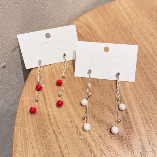 New Year Red Pearl Tassel Earrings Sterling Silver Needle Personalized Detachable Sweet Earrings Gold Earrings