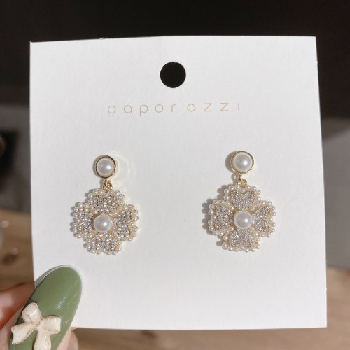 Fairy Style Sterling Silver Needle Flower Earrings Electroplated Real Gold Inlaid Zircon Korean Style Graceful Earrings