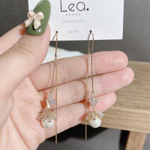 Korean New Vintage Earrings Personalized Long Tassel Earrings Eardrop Zircon Inlaid Flower Ear Studs Fashion