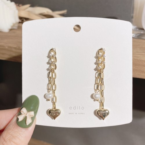 Korean Love Pearl Eardrop Niche Ins Internet Celebrity Chain Earrings Versatile Zircon Earrings