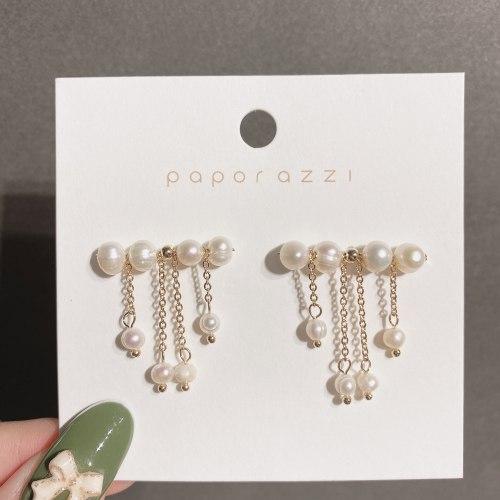 Light Luxury Fresh Water Pearl Tassel Earrings Female Sterling Silver Needle Elegant Gold Plated Handmade Earrings