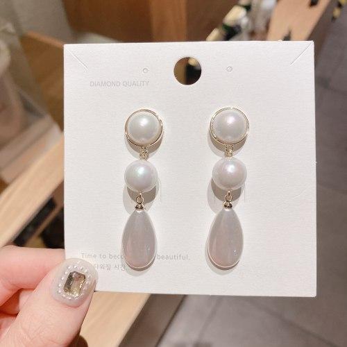 Court Retro Fashion Design Pearl Long Fringe Earrings Korean Temperament Baroque Water-Drop Eardrops