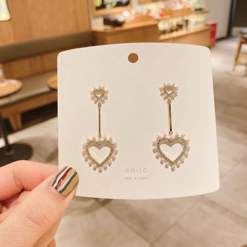 Korean 925 Silver Needle Heart Auricular Needle Tassel Heart Pearl Earrings Internet Celebrity Zircon Ear Clip
