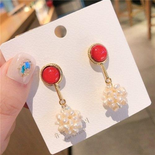 Korean Style 925 Silver Pin Earrings Graceful Online Influencer Same Pearl Earrings All-Matching Tassel Ear Studs Earrings