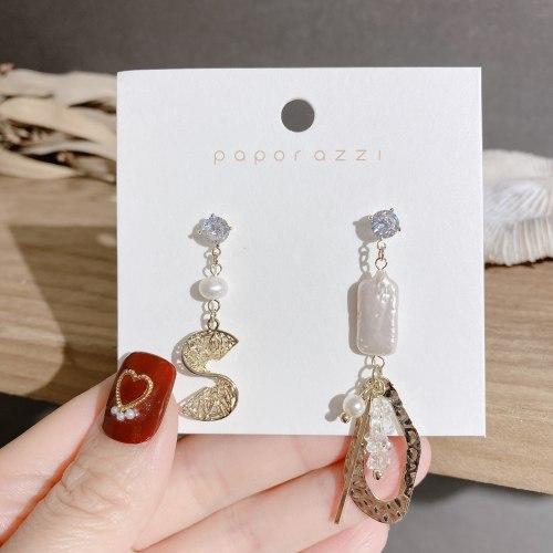 Baroque Fresh Water Pearl Earrings Cross-Border High Profile Fashion Asymmetric Earrings Silver Needle Light Luxury Ear Studs