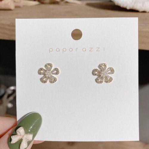 Partysu Flower Stud Earrings Lady Style Small Commuter Zircon Age-Reducing Student Earrings Sterling Silver Needle Earrings