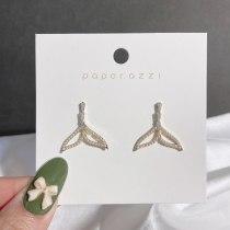 Korean Fashion Internet Hot Earrings Niche Ins Style Fishtail Earrings Sterling Silver Needle Zircon Earrings