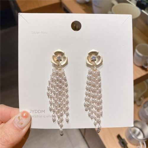 Korean Temperamental Tassels Flower Pearl Earrings Korean Sterling Silver Needle Personality Internet-Famous Versatile Earrings