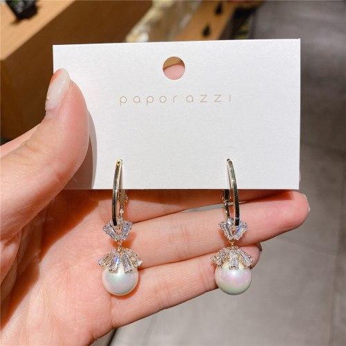 Popular Zircon Tassel Earrings Sterling Silver Needle All-Matching Graceful Internet Influencer Pearl Earrings for Women