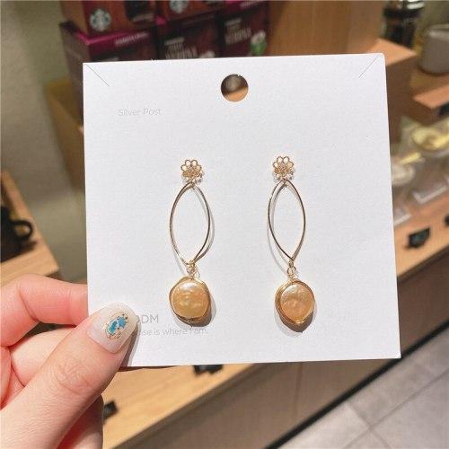 925 Silver Needle Zircon Stud Earrings Online Influencer Refined Fresh Water Pearl Earrings All Match Fringe Earrings
