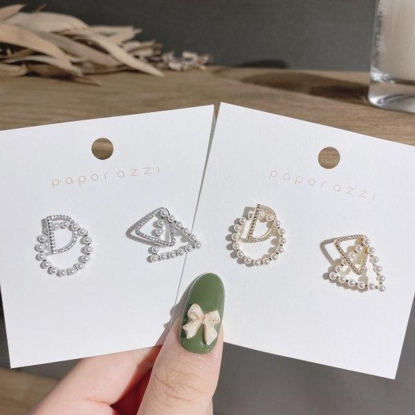 Sterling Silver Needle Net Red Wind New Earrings Unique Design Asymmetric Alphabet Letter Earrings Zircon Stud Earrings