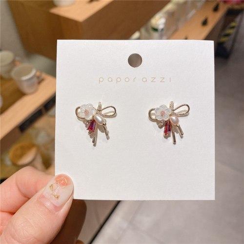 Korean Style 925 Silver Stud Bow Fresh Water Pearl Earrings Fashion All-Match Internet Celebrity Ins Ear Studs Earrings