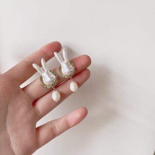Sterling Silver Needle Korean Fashion Personality Rabbit Earrings Freshwater Pearl Earrings Cute Earrings Design Earrings Women