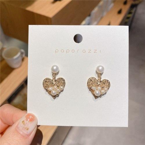 Hollow Freshwater Pearl Heart Shaped Love Earrings Korean Style Sterling Silver Needle Retro Stud Earrings Earrings