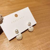 Korean Sterling Silver Needle Earrings Personalized Back-Mounted Earrings Lady Heart Pearl Earrings Graceful Earrings Wholesale
