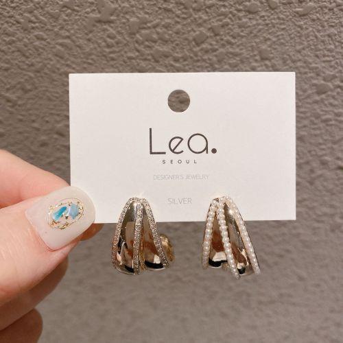 Fashion Popular Gold-Plated Inlaid Zircon Asymmetric Geometric 925 Silver Needle Fashion Brand Pearl Earrings for Women