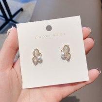 Partysu Lady Zircon Wing Stud Earrings Internet Celebrity Same Style Light Luxury Temperament Sterling Silver Stud Earrings