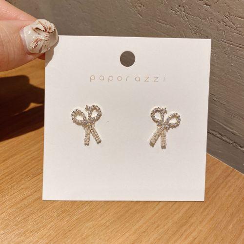 Sterling Silver Needle Internet Celebrity Scissors Pearl Handmade Studs Creative Zircon Earrings Versatile Elegant Earrings