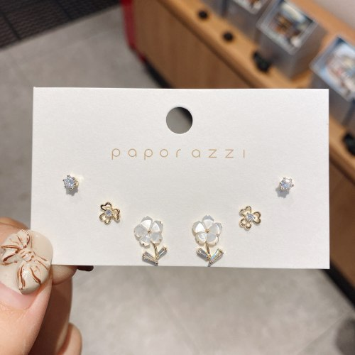 Simple Gold-Plated Set Sterling Silver Needle Mori Style Shell Flower Earrings Sweet Lady Style Student Earrings Earrings