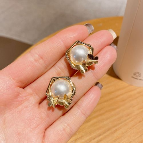 Sterling Silver Needle Korean Style Unique Geometric Earrings Vintage Ins Butterfly Pearl Earrings Fashion Earrings