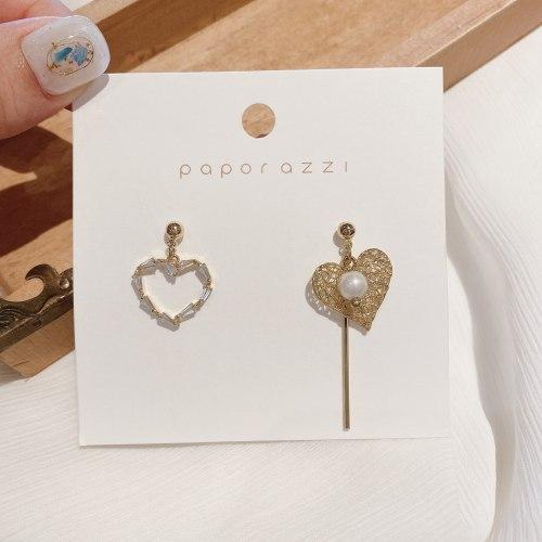 Creative Asymmetric Handmade Zircon Earrings Copper Plated Real Gold Silver Needle Punk Personalized Drop Earrings Wholesale