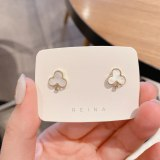 Japanese and Korean Minimalist Creative Design Plum Shell Earrings Sterling Silver Needle Cold Style Gold-Plated Earrings