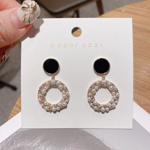 Korean Internet Celebrity Elegant Lady Earrings Fashion Pearl Zircon round Ring Earrings Retro Silver Stud Earrings