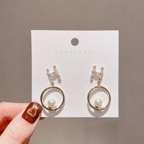 New H-Letter Zircon Earrings Women's Korean-Style Sterling Silver Needle Elegant Circle and Pearl Earrings