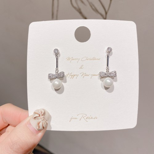 Korean Graceful and Fashionable Pearl Earrings Micro Inlaid Zircon Plated Real White Gold Earrings Cute Lady Bow Stud Earrings
