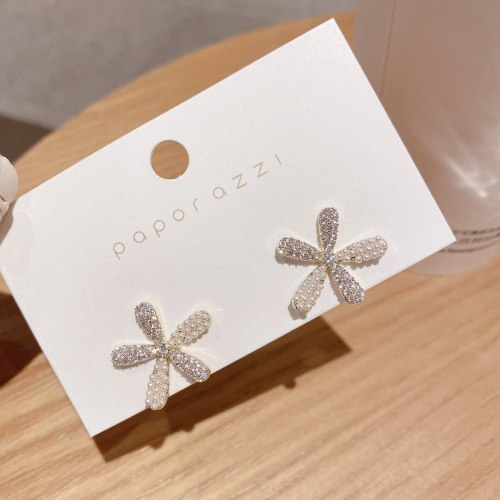 Korean Style Sterling Silver Needle Micro Zircon-Encrusted Stud Earrings Sweet Lady Flower Earring Stud Earrings