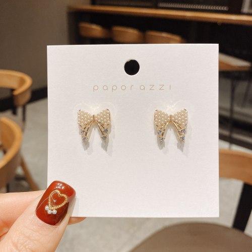 Fairy Mori Style Bowknot Earrings Daily Small Silver Needle Zircon Earrings Korean Style Ins Wind Net Red Earrings Wholesale