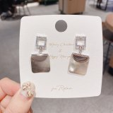 French Retro Minimalist Creative Earrings Sterling Silver Needle Square Shell Earrings Personal Influencer Zircon Earrings