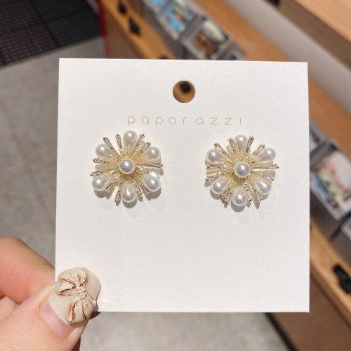 Fashion Creative Fireworks Earrings Personal Influencer Same Pearl Silver Pin Earrings Korean Style Temperament Commute Earrings