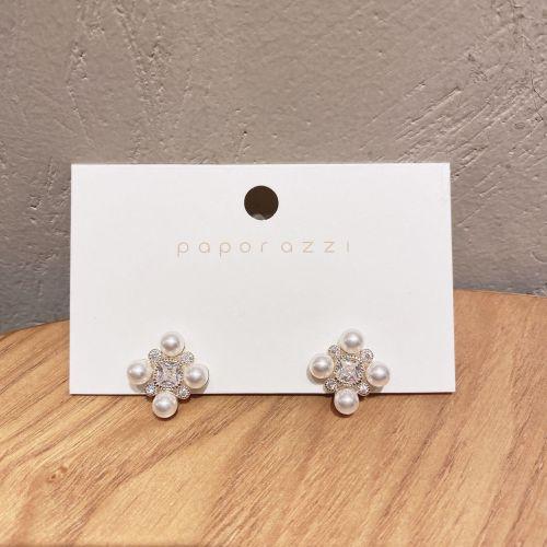 European and American Retro Geometric Light Luxury Zircon Earrings Creative Handmade Pearl Earrings 925 Cross-Border Earrings