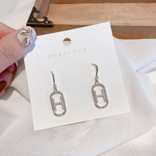 Japanese and Korean Fashionmongers Earring Vintage Handmade Pearl Letter Zircon Earrings Simple Elegant Tassel Earrings