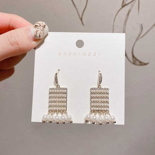 European and American Court Style Pearl Grace Earrings Inlaid Zircon Ins Style Socialite Wedding Earrings Vintage Earrings