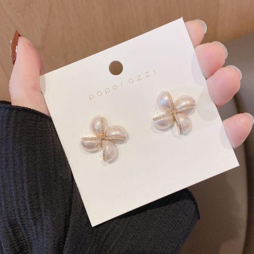 Pearl Zircon Personality Windmill Silver Stud Earrings Temperament Girlfriends New Year Earrings Internet Influencer Earrings