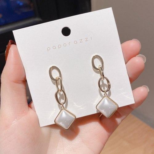 European and American Style Cross-Border Earrings Sterling Silver Needle Long Tassel Earrings Personalized Square Pearl Earrings
