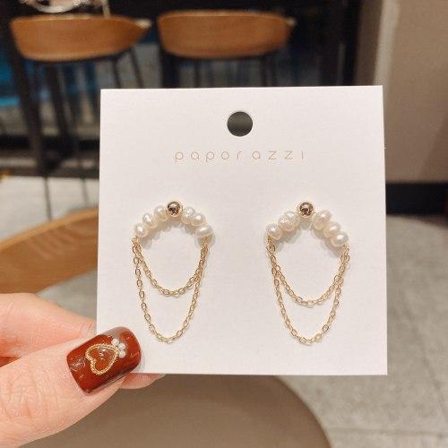 Fresh Water Pearl Earrings Women's Ethnic Style Sterling Silver Needle Gold Plated Tassel Temperamental Earrings