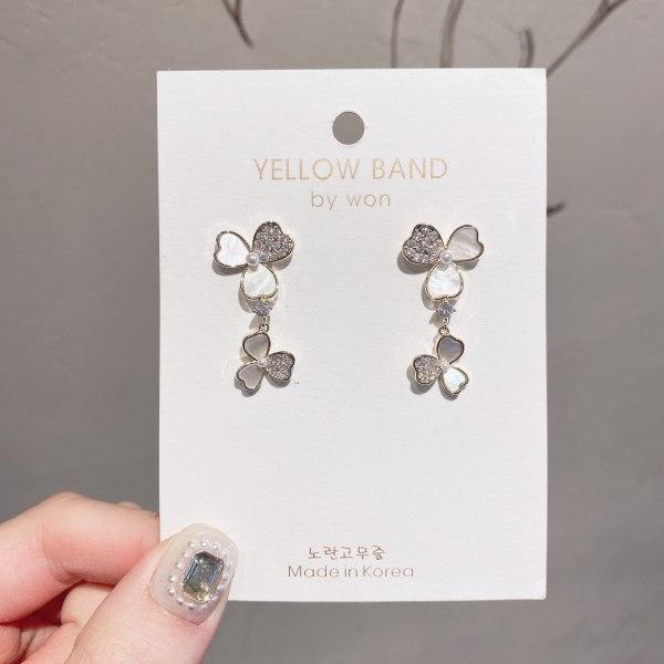 Japanese and Korean Shell Earrings Sterling Silver Needle Personalized Zircon Flower Earrings Temperament Banquet Earrings