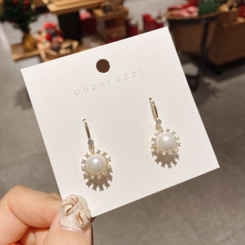 Baroque Earrings Niche Vintage Court Style Pearl Earrings Simple Elegant Zircon Earrings Wholesale