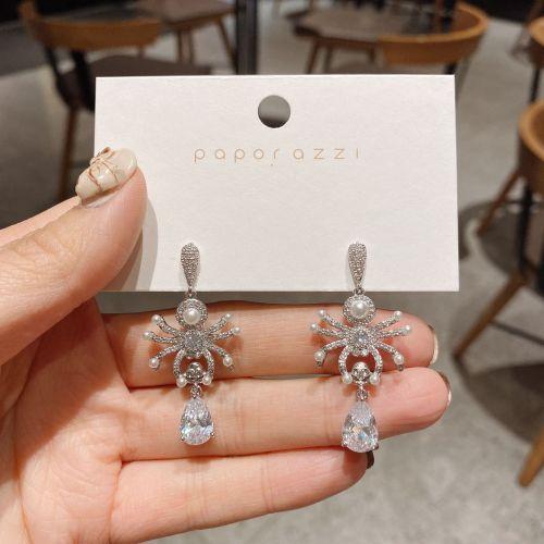 Pearl Luxurious Earrings Europe and America Cross Border Zircon Animal Earrings Wholesale Sterling Silver Needle Earrings